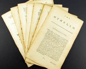 20 Shakespeare Play Pages - 18th Century - Old Book Pages - Antique Ephemera - Mixed Media Supplies - Old Paper - Shakespeare Words