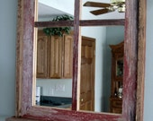 RESERVED for Melissa  --  Barnwood Window Mirror 4 Panes & Shelf
