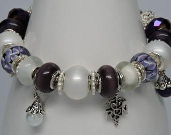 NURSING European Style Big Hole Bracelet Purple White RN Medical