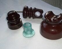 Vintage Insulators Porcelain/ Ceramic Brown Insulators,Phone Pole  Line Insulators