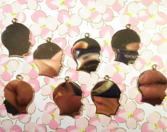 8 Goldplated 27mm Boy Head Charms
