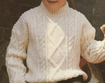 "UK/EU SELLER Vintage pdf knitting instructions Childrens/Enfants Aran Crew Neck Sweater-lots of pattern, cables, diamond panel. 24-32"" Chest"