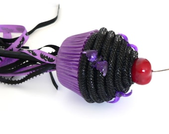 Fake Cupcake Wand Halloween Bats Balck and Purple Ribbon Colors Black Frosting