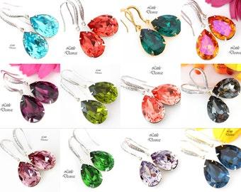 Swarovski Crystal Earrings Bridesmaid Earrings Bridal Earrings Wedding Earrings Colorful Earrings Teardrop Pendant Sterling Silver ALL31