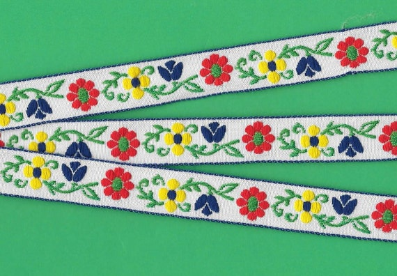 "RESERVE FOR LAURA Jacquard Ribbon Trim, Floral,  Cotton, 5/8"" Wide, White Background, Red/Yellow Flowers, Blue Tulips, Green Leaves"