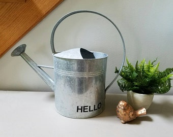 Galvanized Metal Watering Can with Arch Handle HELLO