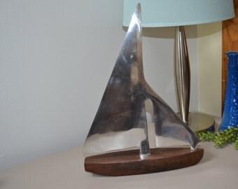 Vintage Wood & Aluminum Sail Boat nautical decor