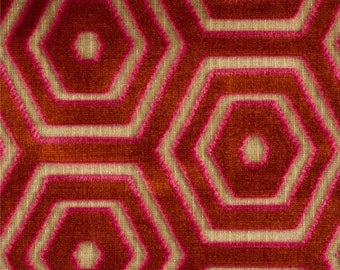 DESIGNER HEXAGON on Hexagon GEOMETRIC Cut Velvet Fabric 10 Yards Red Pink Beige