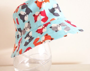 Boys hat in friendly fox fabric- bucket hat, summer hat