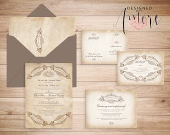 VINTAGE WEDDING INVITATIONS Printable - Anchorage Suite Banners and Frames