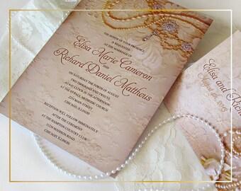 Elegant Wedding Invitation - lace and pearls wedding invitation - elegant vintage lace wedding invitation {Reno design}
