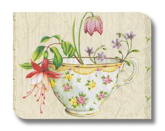 Paper napkin for decoupage, mixed media, collage, scrapbooking x 1.  No 1188 Flower Cup- cream
