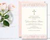 Christening Invitation \ Baptism Invitation \ Girl Invitation \ Pink Invitation \ Printable Invitation \ Vintage (CR01)