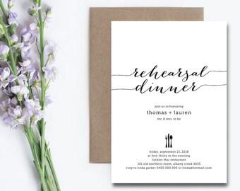 Printable Rehearsal Dinner Invitation \ Black and White (RD29)