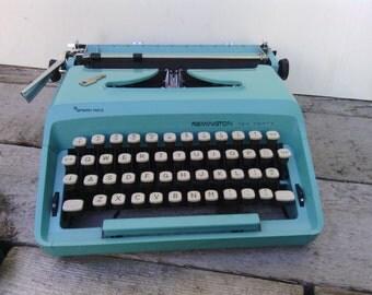 Cursive Remington Sperry Rand Blue Vintage Typewriter