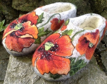 Felted Slippers - Blooming Poppy EU size 38