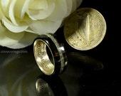 Connemara marble and silver Irish half crown wedding band ring