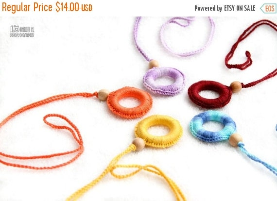 SALE 25% off Crochet Teething Wooden Ring with juniper bead Nursing necklace Pendant Teething Toy - choose your color