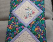 Easter table runner/machine embroidered bunnies /eggs/quilted