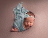 Newborn Flower Headband, Newborn Photo Prop, Baby Girl Headband, Aqua Lace Headband, Newborn Aqua Headband