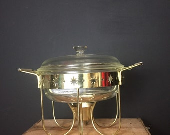 Atomic Divided Serving Warming Casserole Chafing Dish Mad Men Casserole and Metal Stand