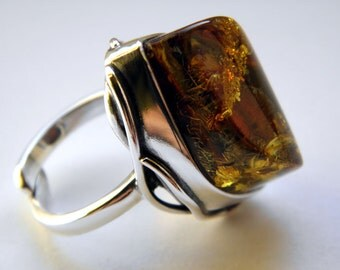 SALE 20% OFF!!! Use the coupon code: SALE20 Baltic amber sterling silver ring  - adjustable