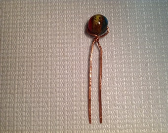 Hair Fork Glass Bead Copper Wire
