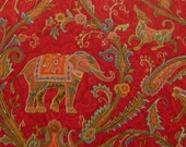P. Kaufman Fabric - Exotic Animals - Elephants, Peacocks, Horses Gazelles, Tigers, Ostrich