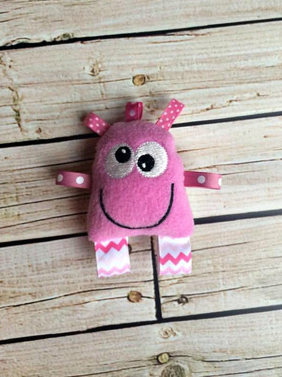 Baby Rattle Pink Monster Taggie Toy Stuffed By Birdieanddot