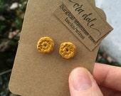 Crochet Baby Button Earrings in Spicy Mustard