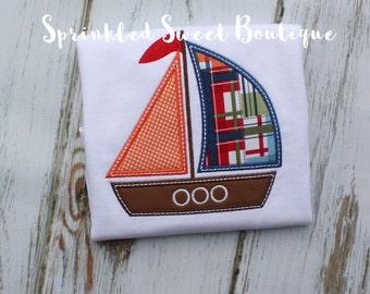 Boys Madras Sailboat Applique Shirt Add Name Monogram Perfect for Summer Beach Vacation
