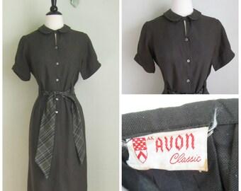 Vintage 1960's Army Green Cotton Dress// Plaid Sash Belt// Avon Classic