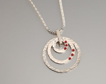 ON SALE Circle- Sterling Silver Necklaces with Coral Ston Gemstones Circle Pendant