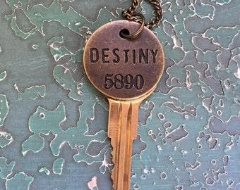 Key Necklace, Destiny, Steampunk Key, Engagement, Bridal, Upcycled Key, Vintage Style, Steampunk