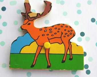 Vintage puzzle piece magnet / Deer/ magnet/ Ravensburger  magnet