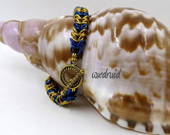 Chainmaille Bracelet, Box Chain Weave, Handmade Gold and Blue Anodized Aluminum Chainmail Bracelet