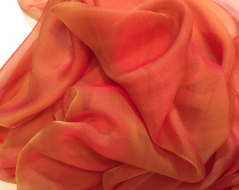 Orange Chiffon, Orange with Yellow Highlights, Two-toned Fabric, Flowy Fabric, Orange Material, Silk Chiffon -- 1 yard 16 inches -- BR-207