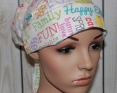 Pleated back Surgical Scrub Hat ,Women's Surgical Scrub Hat,Happy Easter