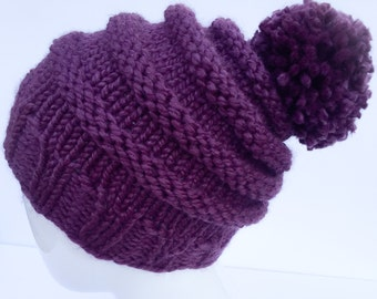 "Knit Slouchy Hat with Pom Pom , Knit Hat Pom Pom, Knit Hat,  Winter Hat, Women's Gifts, Christmas Gifts, ""Fig"", Plum, Purple, Gifts under 30"
