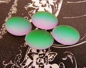 Oval 14x10mm Matte Helio Green Glass Cabochons Preciosa Flat Back Stones Rainbow Cabs - 4