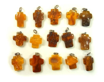 Hand Carved Amber Baltic CROSS - Yellow - Honey - Cognac - Cherry - size M/L - 15pcs available