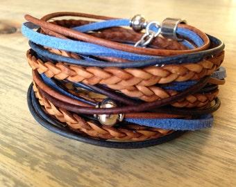 Boho Leather Wrap Bracelet Wrap Bracelet Beach Wear Surf Wear Cuff Bracelet Hipster Hippie Bracelet Blue Leather Bracelet Gift under 100
