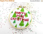 CLOSING SALE - Merry F'ing Christmas Ornament - Hand Embroidered Hoop Art for the Holidays : Christmas Tree Decoration Embroidery
