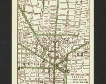 Vintage Detroit Map Etsy