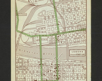 Vintage Map Little Rock Arkansas Original 1951