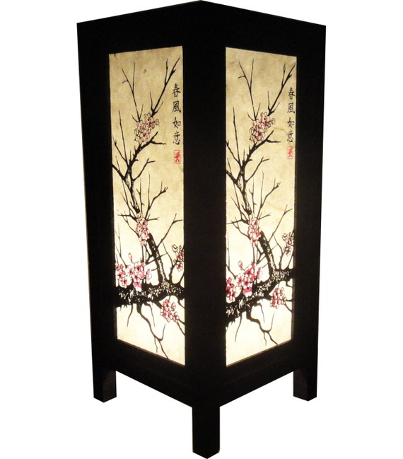 Asian Oriental Japanese Sakura Cherry Blossom Tree Zen Art Bedside Table Lamp Wood Light Shades Furniture Gift Living Bedroom Home Decor