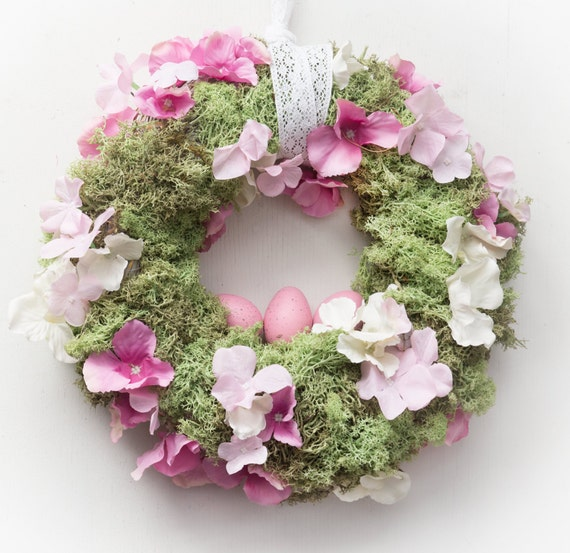 "Easter wreath 12"" spring wreaths moss Easter door decoration eggs pastel colors"