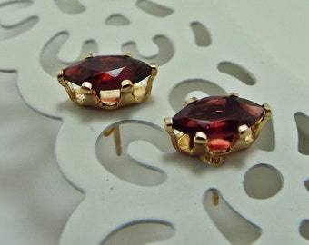 Earrings Post Garnet Gemstones Faceted Navette 14KGold filled