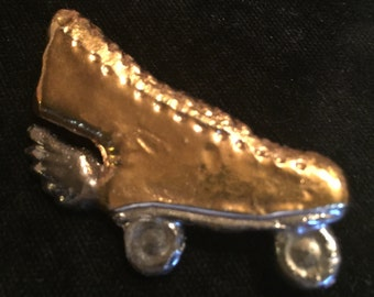 Gold Rollerskate with Wings Pin