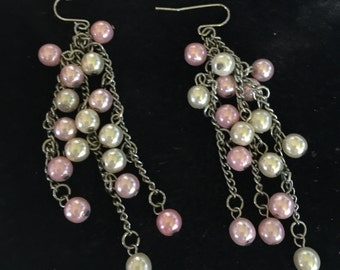 Pink and White pearl earings
